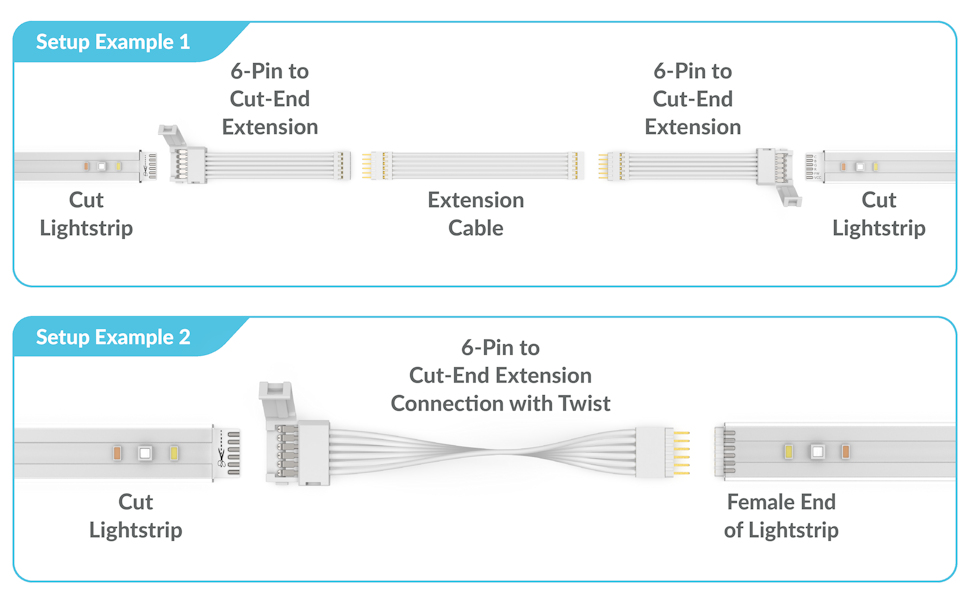 6-pin to cut-end extension connector for philips hue lightstrip