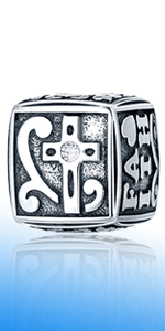 EMOSTAR Faith and Strong Christian Charms in Antique 925 Sterling Silver