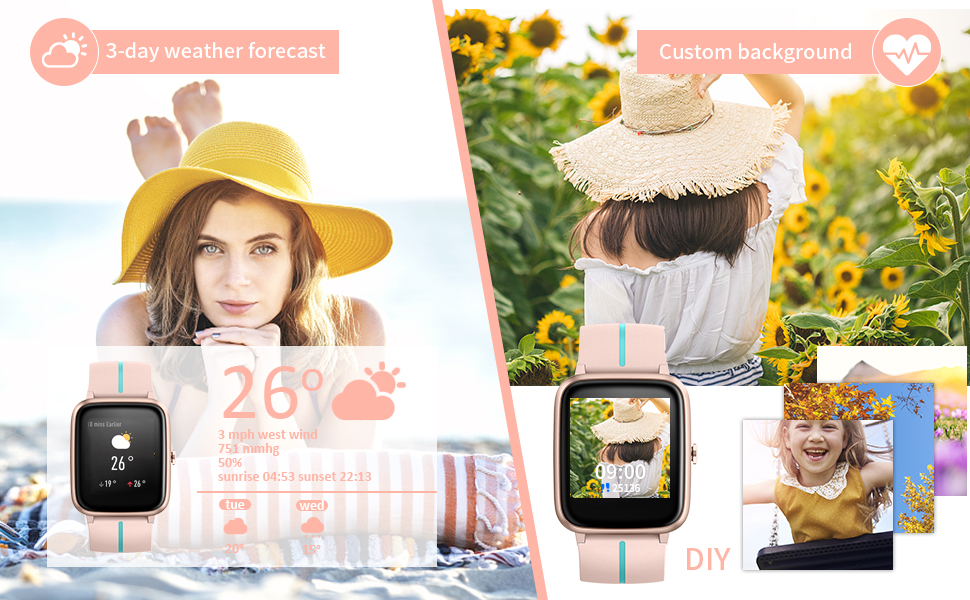 smart fitness watch compatiable with samsung phone strep counter watch for women step tracker women