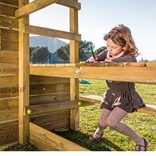 MASGAMES | Parque infantil TEIDE XL | Columpio de dos plazas | Altura plataforma 150 cm | Pared de escalada | Tobogán con conector a manguera | Anclajes incluidos | Uso doméstico |: Amazon.es: Juguetes y juegos