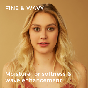 model with fine, wavy hair