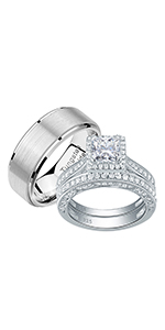Newshe Wedding Ring Sets for Him and Her Women Mens Tungsten Bands Sterling Silver