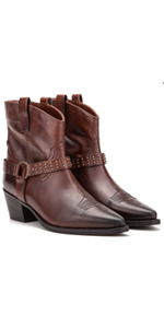 Vintage Foundry Co. Mia Women's Western Brown Leather Studded Ankle Boots