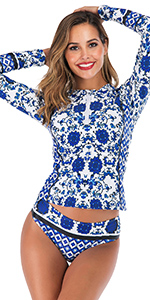 SailBee Side Slanted Two-Piece Swimsuit Swimdress and Skirt Set
