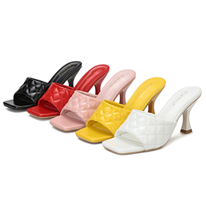 Women's Heels Mules Slip On Square Open Toe Sandals Dress Backless Stiletto High Heel Slippers Slide
