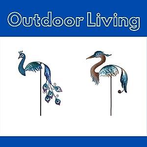 outdoor garden decor yard art spinners stakes
