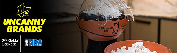 Uncanny Brands NBA Basketball Popcorn Maker- Removable Bowl- Baller's Lifestyle
