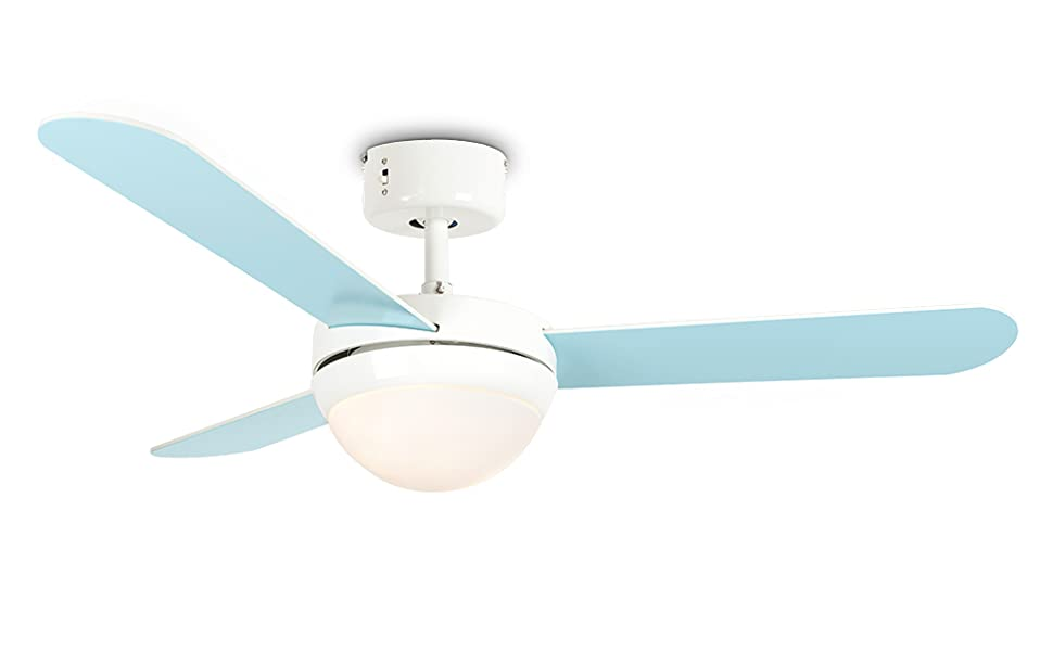MiniSun - Moderno Ventilador de Techo con Luz LED - Silencioso con ...