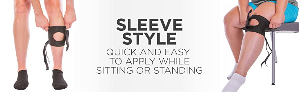 Sleeve style running brace is quick and easy to apply while sitting or standing