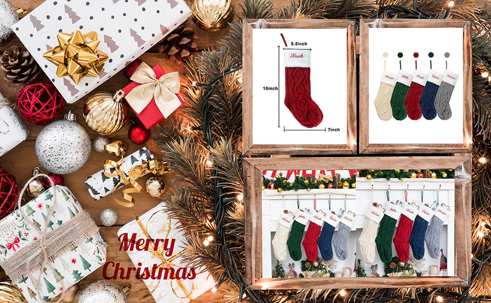 christmas stockings knit for family 5 pack set of 5