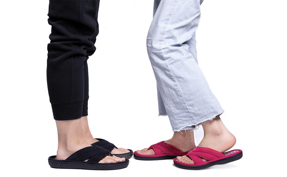 memory foam flip flops mens