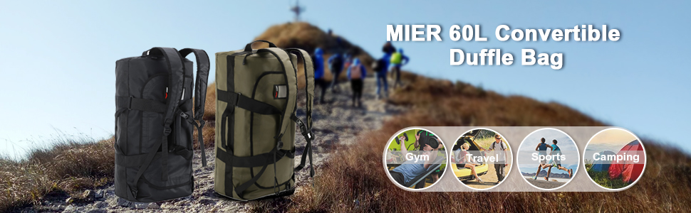 MIER 60L Water Resistant Backpack Duffle