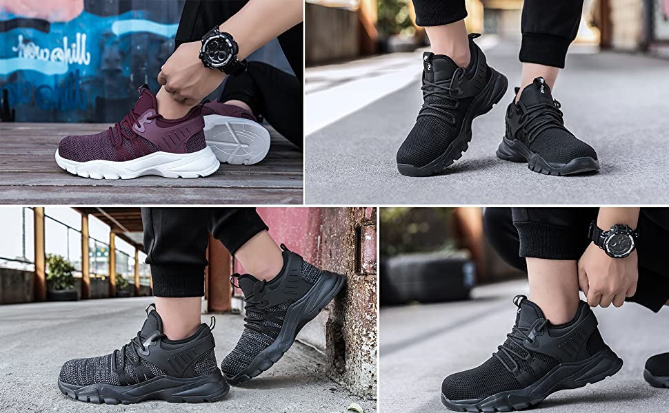SROTER Lightweight Safety Shoes Men Women Work Trainers Steel Toe Caps Sport Industrial Sneakers 750g~800g