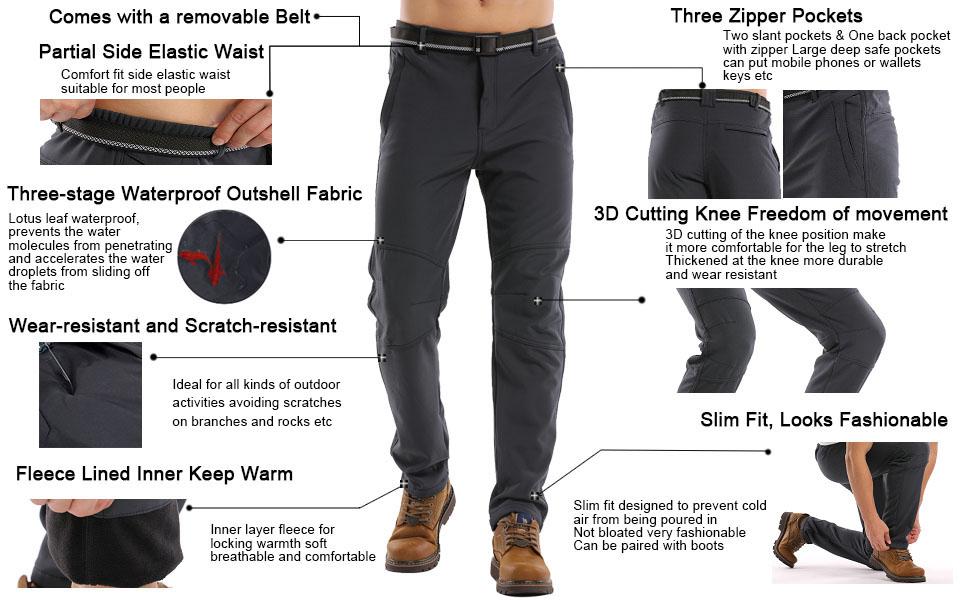 flannel lined pants men slim jessie kidden winter summitskin pants golf pants men waterproof wind
