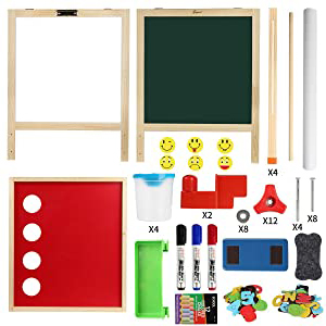 1 - Joyooss Kids Wooden Easel With Extra Letters And Numbers Magnets, Adjustable Double Sided Drawing Board Whiteboard & Chalkboard Dry Easel Board, Children Art Easel For Boys Girls Painting Drawing
