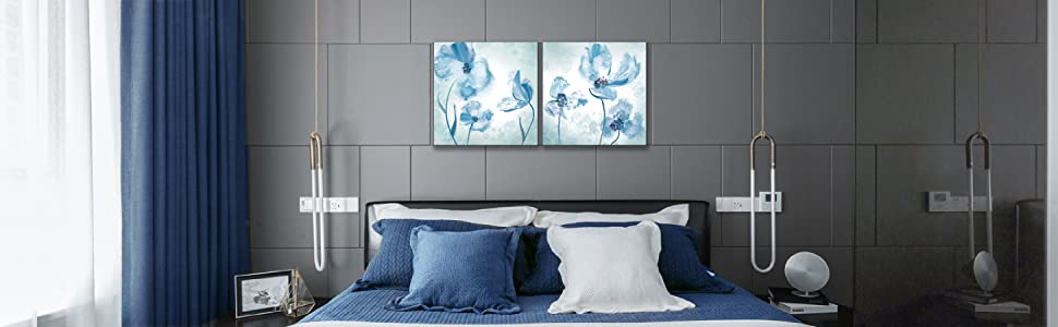 blue flower canvas wall art floral painting picture