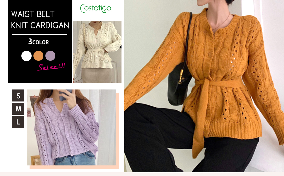 Cardigan, Cute, Cable Knitting, Drawstring, Long Sleeves, Winter, Spring, Autumn, Winter, Fashionable, Neat, Casual, Large Size, Thick, Youtari, Korean Style, Top, Large, Fashionable