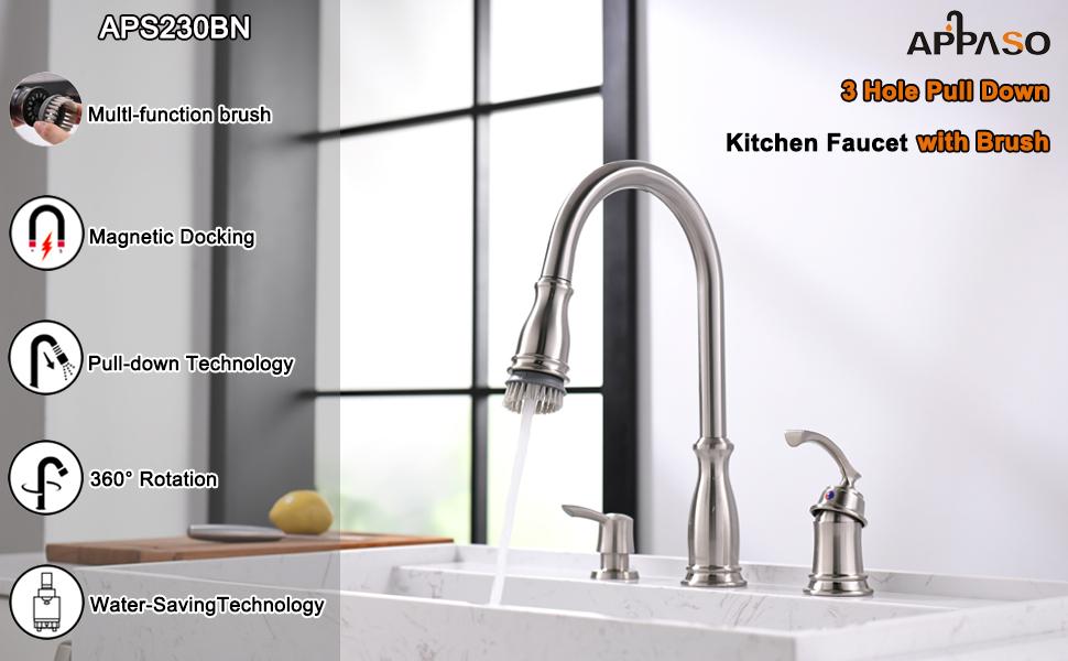 APPASO 3-hole Kitchen faucet