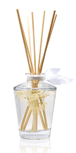 LOVSPA Classic Luxury Glass Reed Diffuser Bottle with sticks. Home Air Freshener, 4.5 ounces