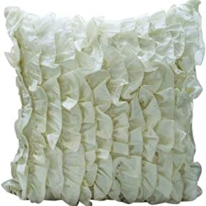 The Homecentric Designer 22x22 Inch 55x55 Cm Pillow Covers Decorative Ivory Pillow Covers Vintage Style Ruffles Shabby Chic Pillows Cover Satin Square Pillow Cases Solid Victorian Vintage Home Kitchen