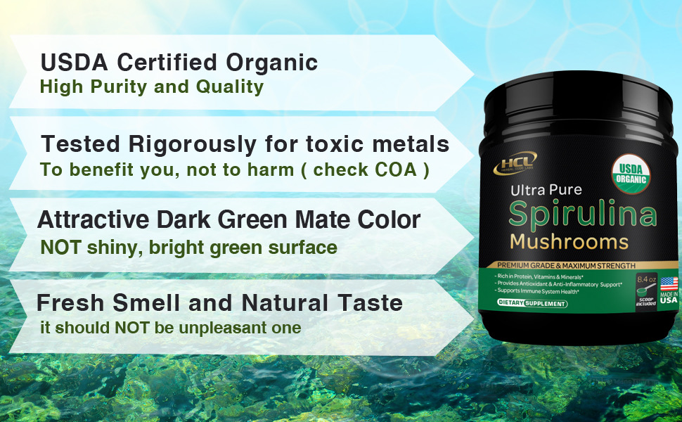Spirulina powder organic mushrooms extract supplement vegan protein green superfood blue green algae