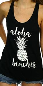 aloha beaches funny women's graphic casual shirt tank top pineapple cute casual basic cruise tee