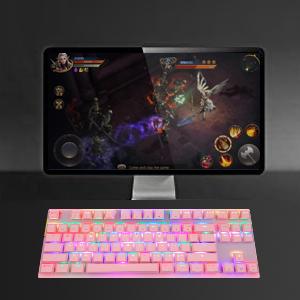 1  MOTOSPEED Professional Gaming Mechanical Keyboard RGB Rainbow Backlit 87 Keys Illuminated Computer USB Gaming Keyboard for Mac & PC Pink 8e5783fd 7f8d 49d6 82d0 ba67a8b8c6c3