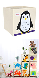Collapsible Toy Storage Bins Foldable Cartoon Animal Storage Box for Bedroom Large Capacity Storage