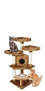 CozyCatFurniture Small Cat Tower with 3 Perches & Condo