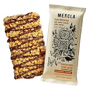 peruvian cocoa peanut butter mezcla vegan protein bar