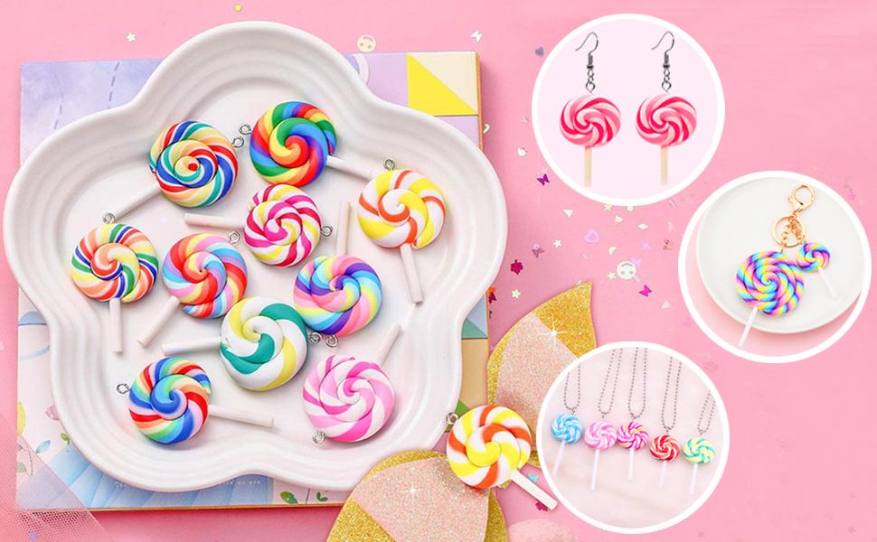 Lollipops Pendant Polymer Soft Pottery