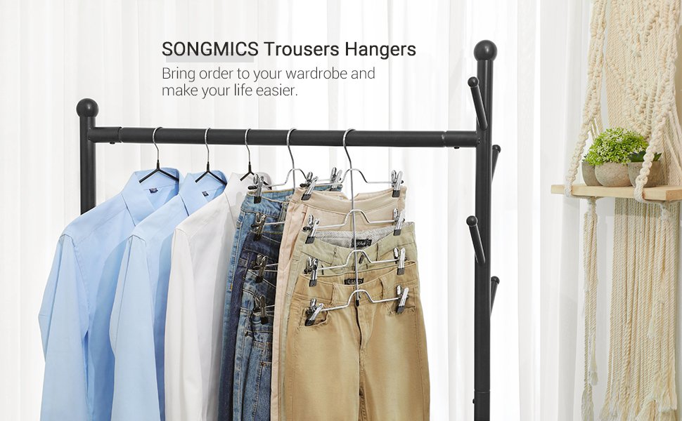 SONGMICS Pants Hanger, Set of 3 Space-Saving 4-Tier Metal Trousers Hangers, with 8 Adjustable Non-Slip Clips, for Slack, Jeans, Towels, 12.6 Inches ...