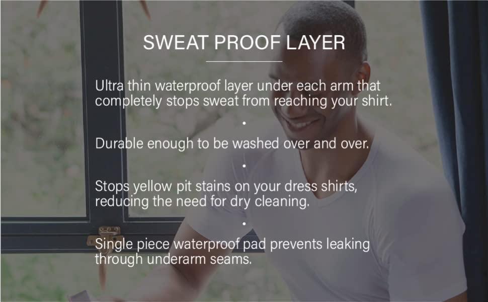 ultra thin waterproof layer under arm stop block sweat stain durable dress shirt wash