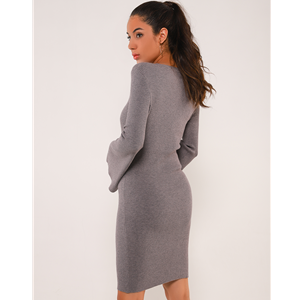 fitted bell sleeve dress