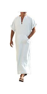mens kaftan robe beach wear linen shirt short sleeve shirt