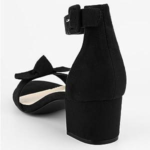Allegra K Women's Girls Open Toe Ankle Strap Block Heel Sandals
