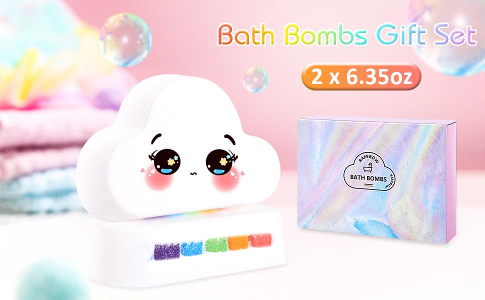 Sagekia Rainbow Bath Bombs Organic Bath Bomb Gift Set for Her, Girls, Women and Kids
