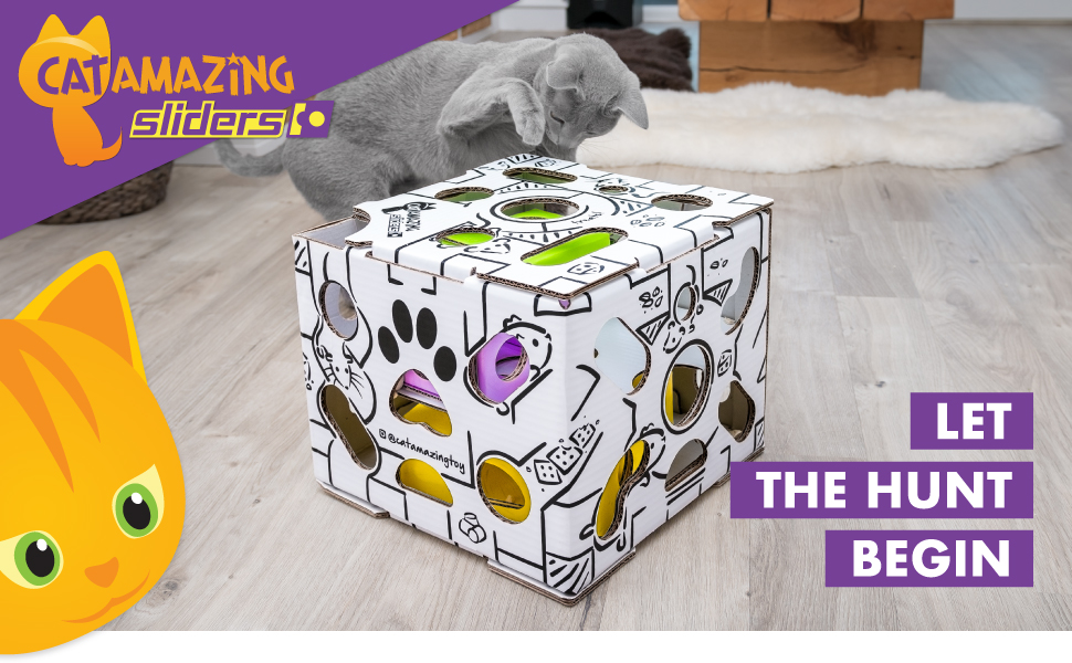 Cat Amazing SLIDERS! Exercise, activity and weight loss toy - puzzle feeder and food dispenser