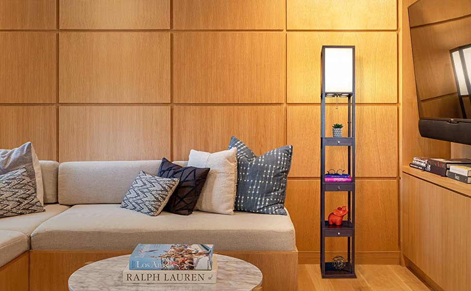 Brightech Maxwell Drawer Edition - Shelf & LED Floor Lamp Combination