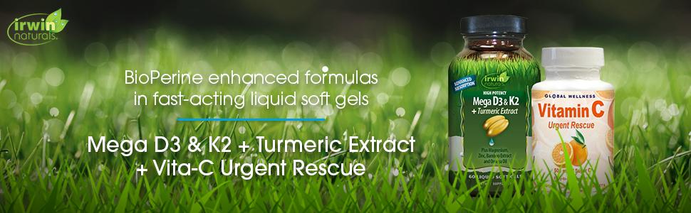 irwin naturals high potency mega vitamin d3 k2 turmeric extract vita c immune bone mood support