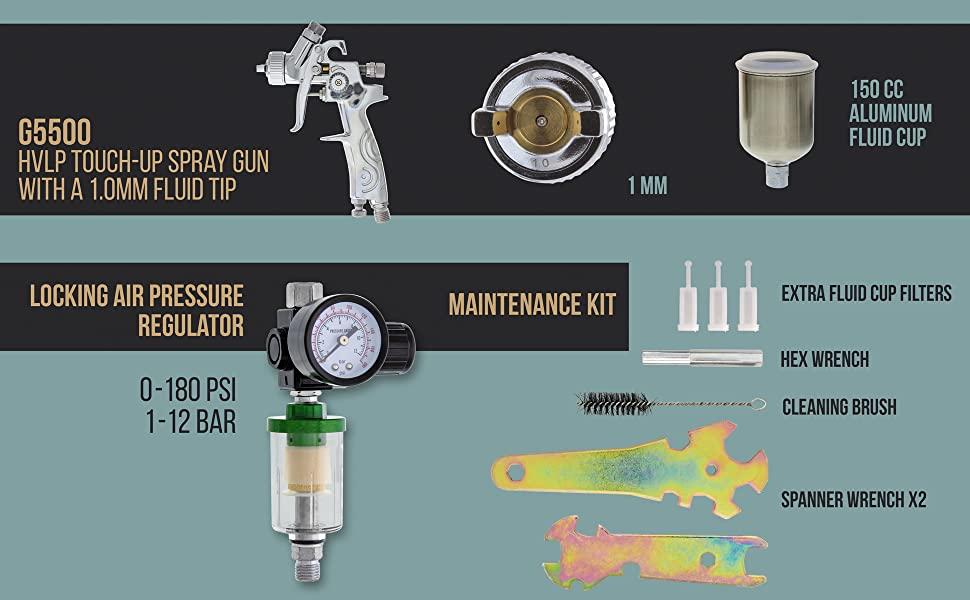 9 Piece Air powered HVLP Spray Gun Set