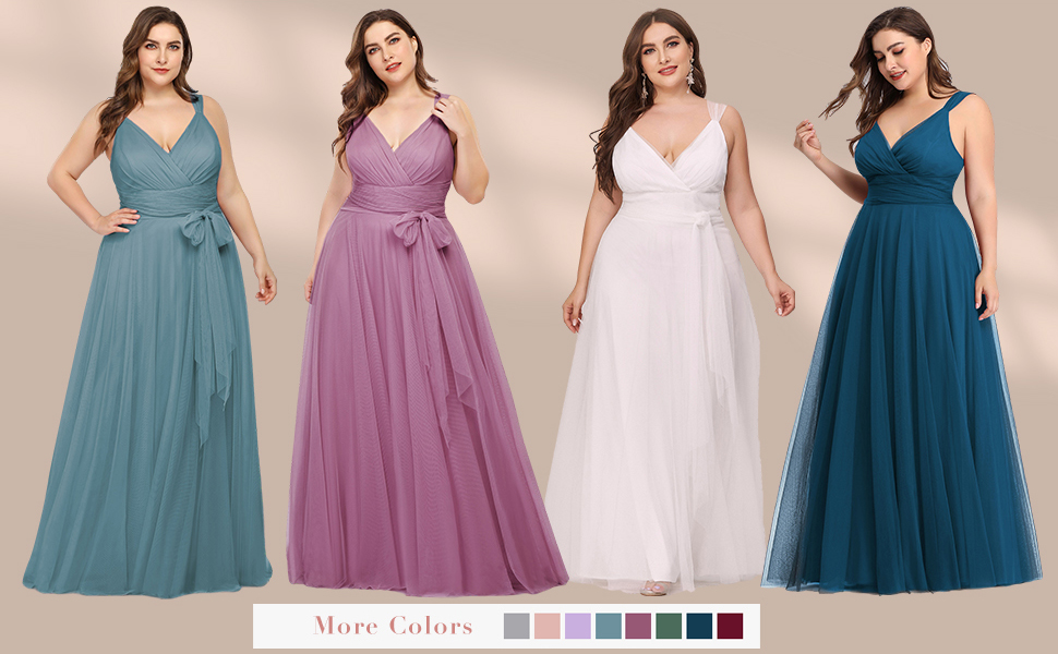 Ever-Pretty Plus Size Prom Dress with Sash Tulle Bridesmaid Dress Sexy Evening Party Gowns for Party
