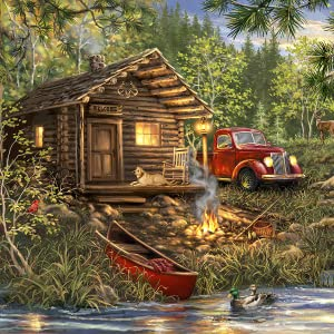 jigsaw puzzle, lake puzzle, cabin, outdoor, nature