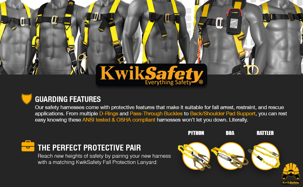 safety durable ansi tested osha compliant premium d-ring yellow strapped steel hooks secured harness