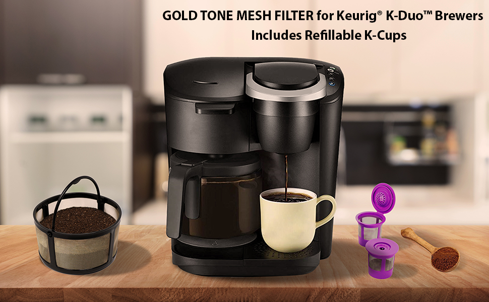 Gold tone mesh filter basket for k-duo brewer