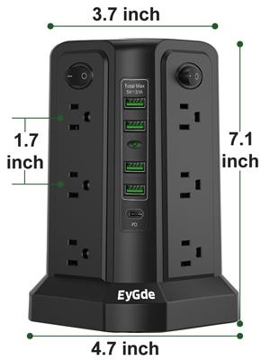 size USB c port Power strip
