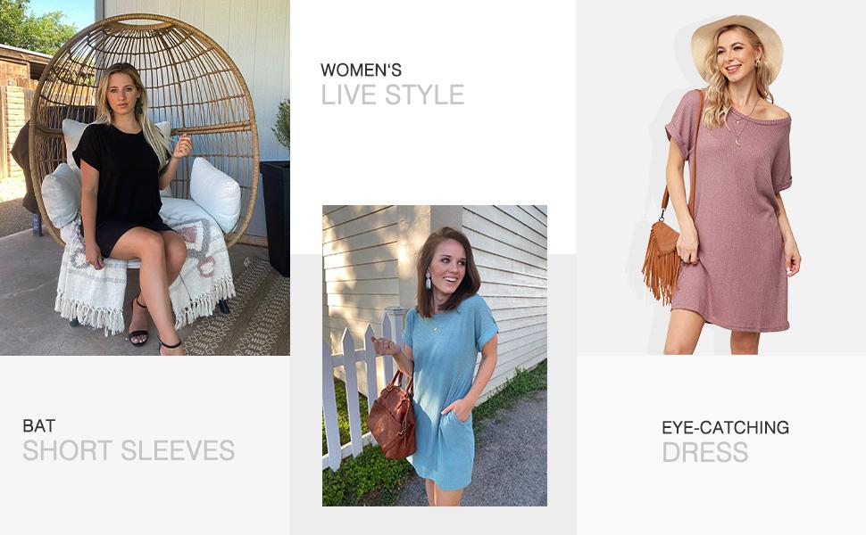 IWOLLENCE Women Waffle Knit Tunic Dress