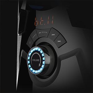 front button controls including volume knob and playback buttons on Creative SBS E2900 subwoofer