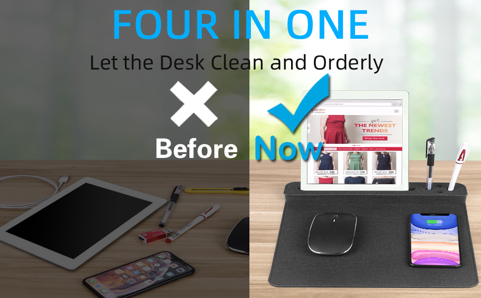 Fast Wireless Charger Mouse Pad Mat Qi desk Fashionable Anti-slip fabric pen holder Samsung iPhone