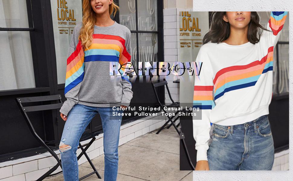 Women Long Sleeve Rainbow Patchwork Crew Neck Sweatshirt Casual Blouse Pullover